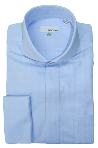 Powder Blue Herringbone Cutaway Collar Dress Shirt