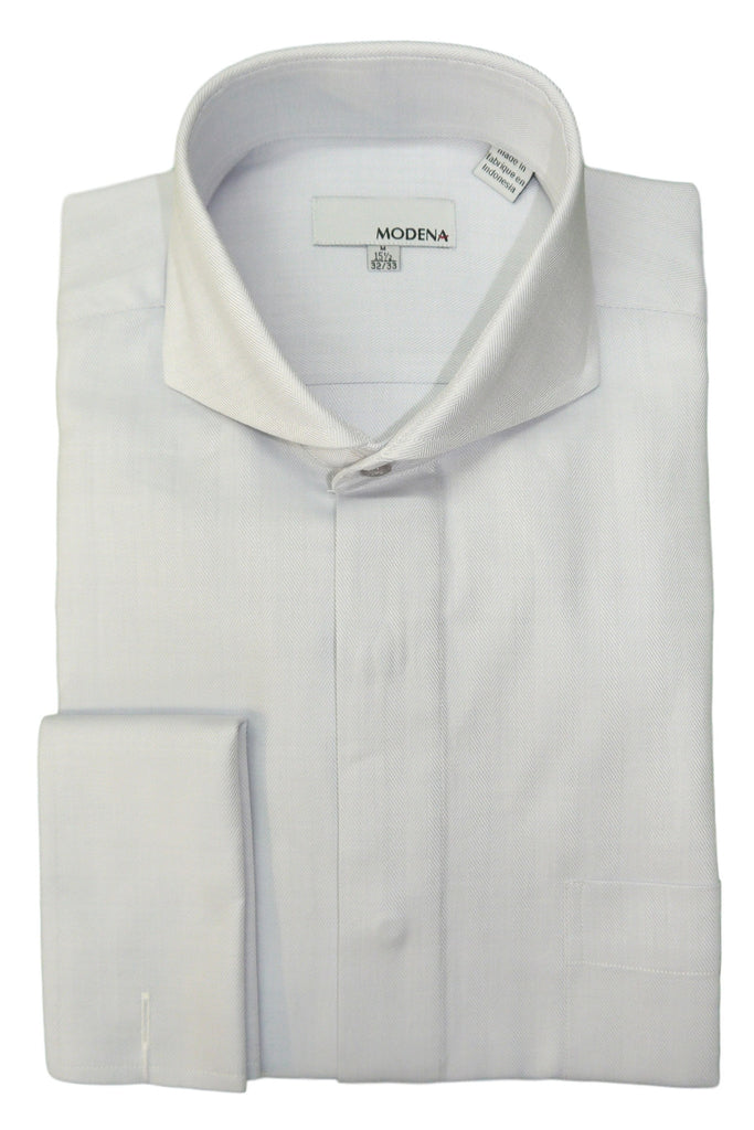 Grey Herringbone Cutaway Collar Dress Shirt