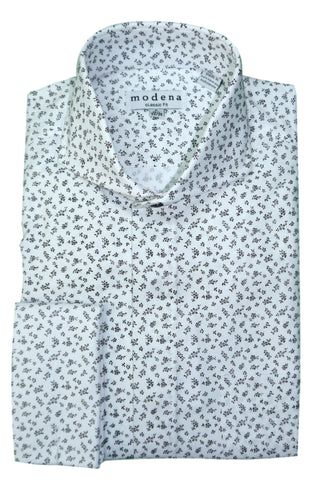 Black and White Mini Floral Cutaway Collar Dress Shirt