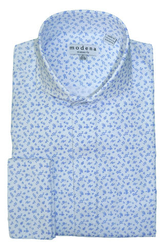 Blue and White Mini Floral Cutaway Collar Dress Shirt