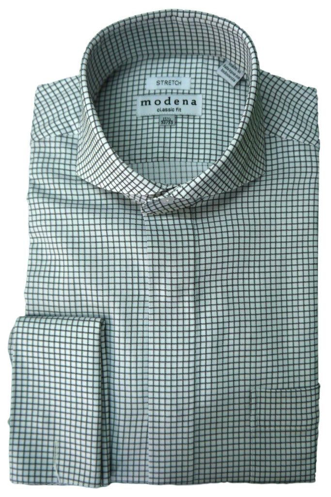 Black Check Cutaway Collar Dress Shirt