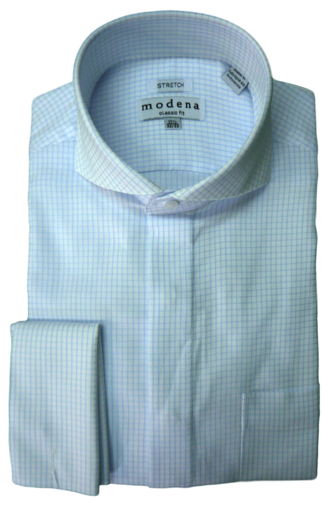 Blue Check Cutaway Collar Dress Shirt
