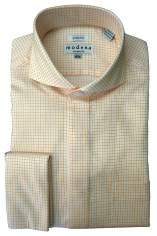 Melon Check Cutaway Collar Dress Shirt