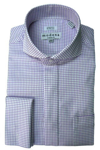 Purple Check Cutaway Collar Dress Shirt