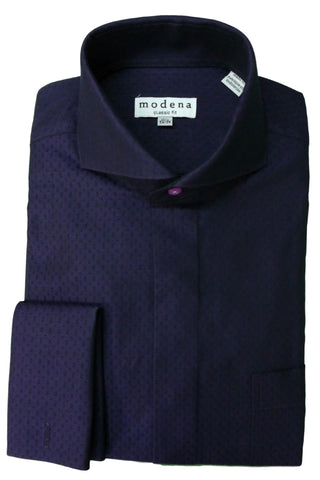 Purple Patterned Cutaway Collar Dress Shirt