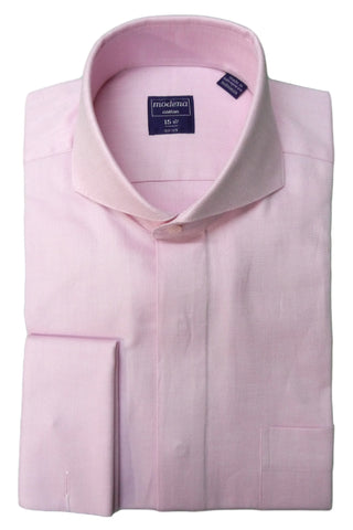 Raspberry Diagonal Textured Cutaway Collar Dress Shirt