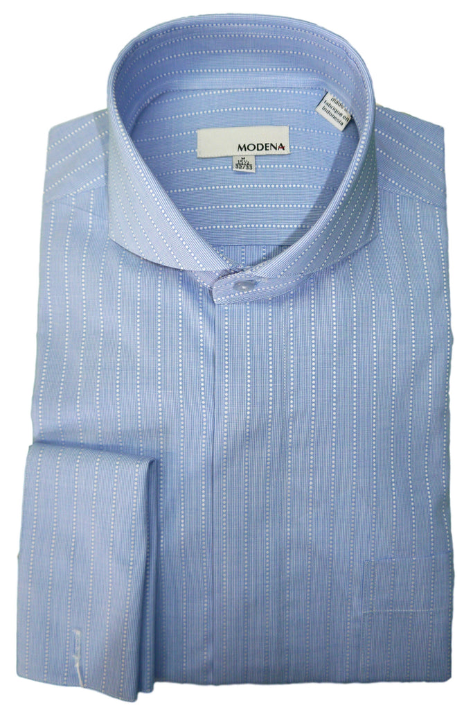 Powder Blue Pin Dot Stripe Cutaway Collar Dress Shirt