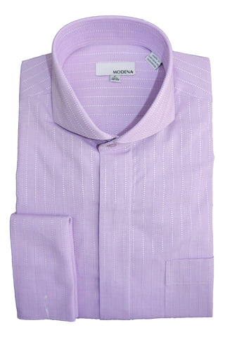 Lavender Pin Dot Stripe Cutaway Collar Dress Shirt