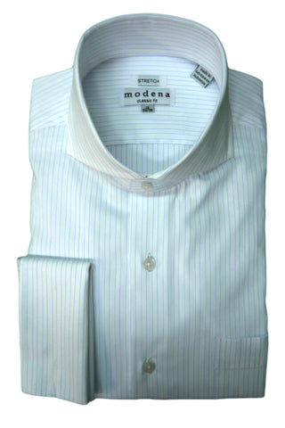Powder Blue Pinstripe Cutaway Collar Dress Shirt