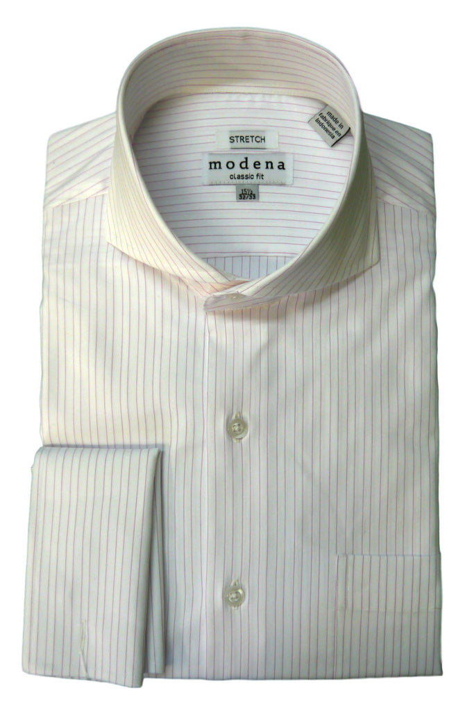 Pink Pinstripe Cutaway Collar Dress Shirt