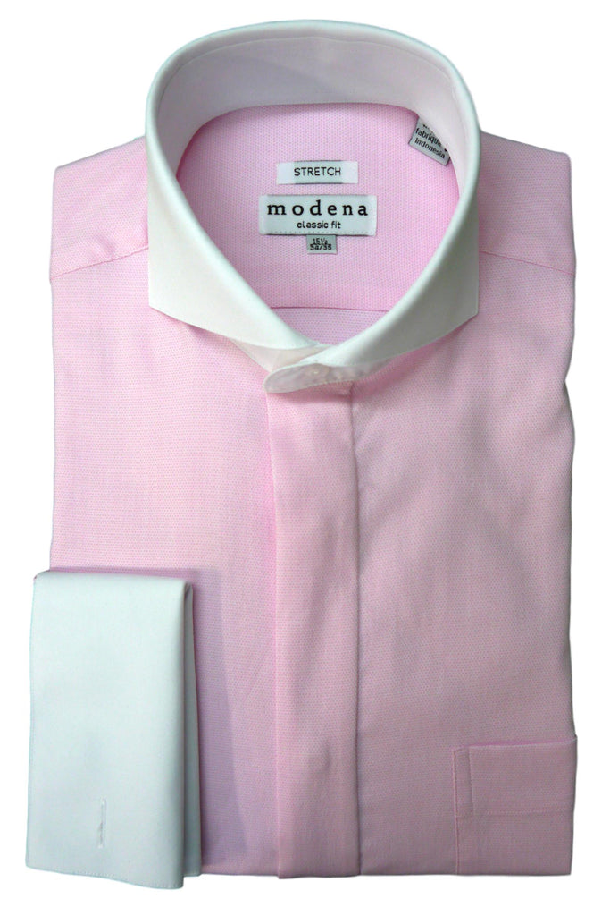 Pink Birdseye Cutaway Collar Dress Shirt