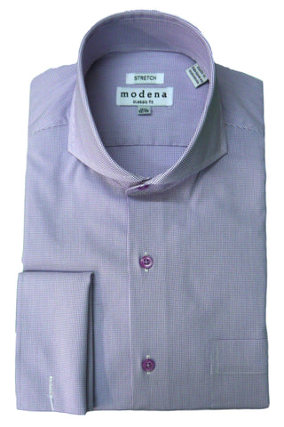 Purple Mini Check Cutaway Collar Dress Shirt