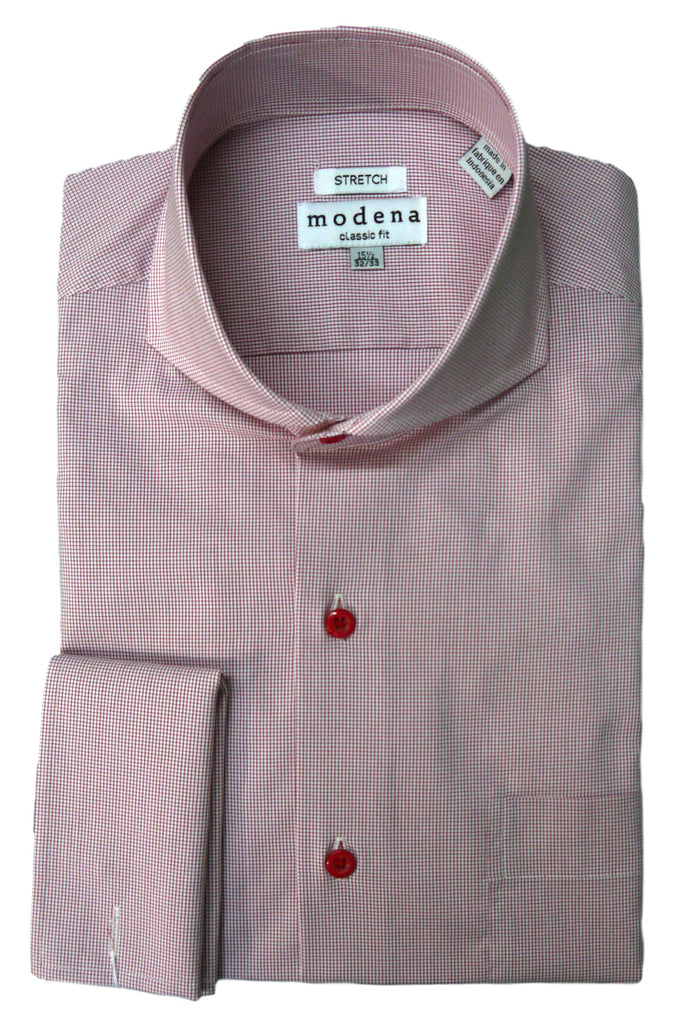 Red Mini Check Cutaway Collar Dress Shirt