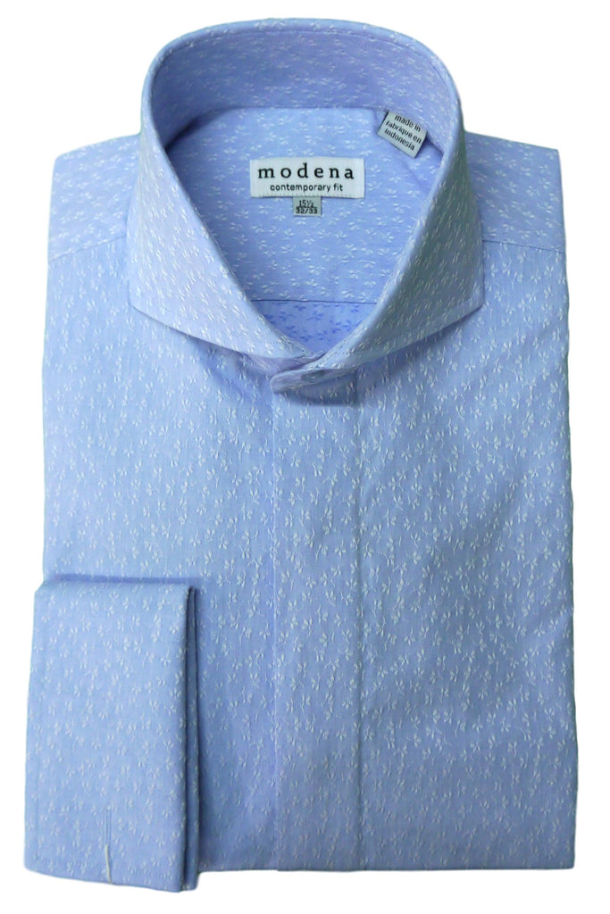 Blue Textured Floral Cutaway Collar Dress Shirt