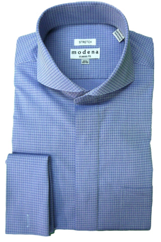 Blue Tonal Check Cutaway Collar Dress Shirt