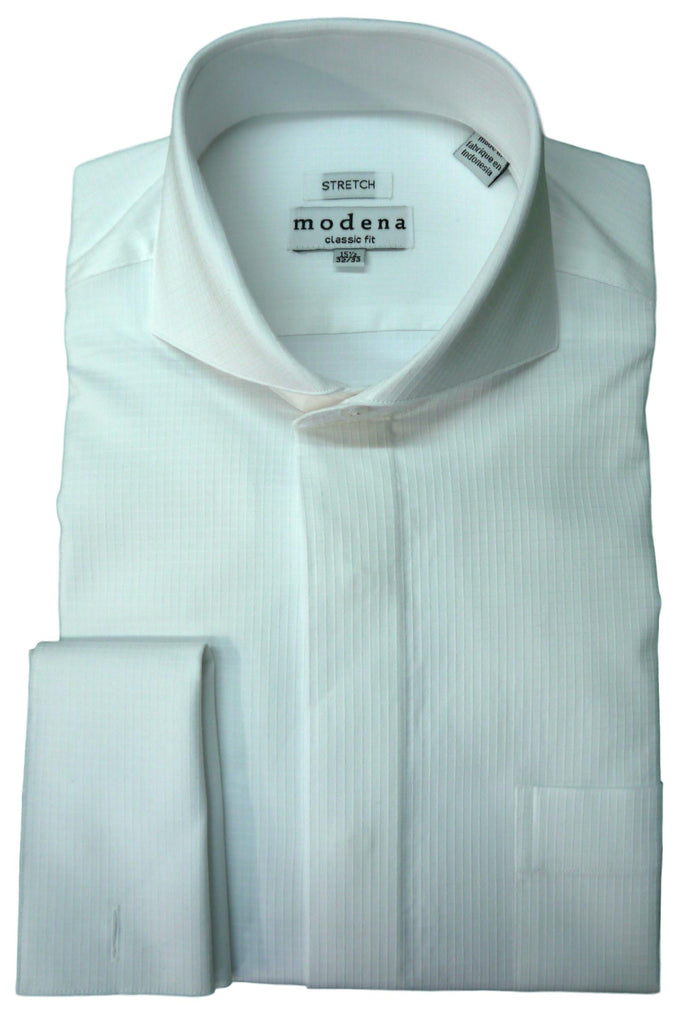 White Tonal Check Cutaway Collar Dress Shirt