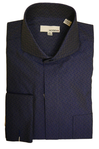 Blue Dobby Cutaway Collar Dress Shirt