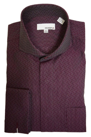 Burgundy Dobby Cutaway Collar Dress Shirt