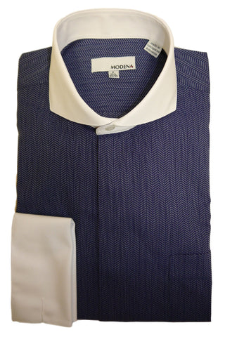 Blue Herringbone Cutaway Collar Dress Shirt