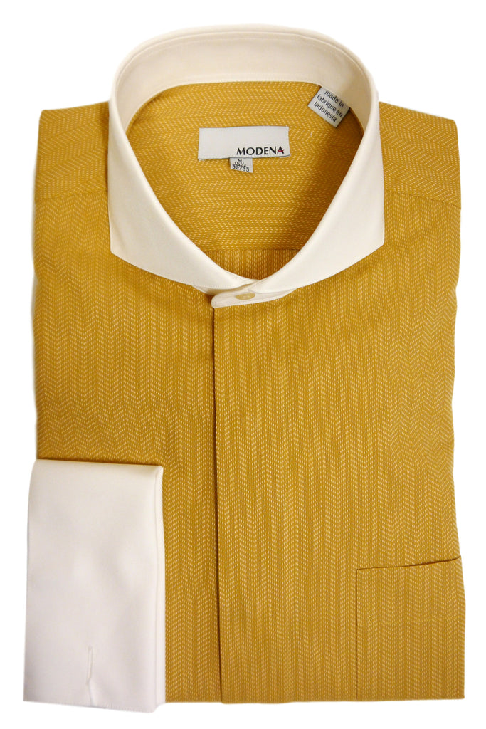 Gold Herringbone Cutaway Collar Dress Shirt