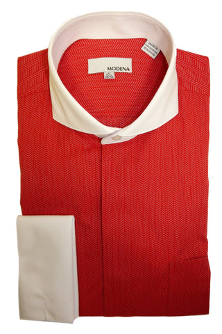 Red Herringbone Cutaway Collar Dress Shirt