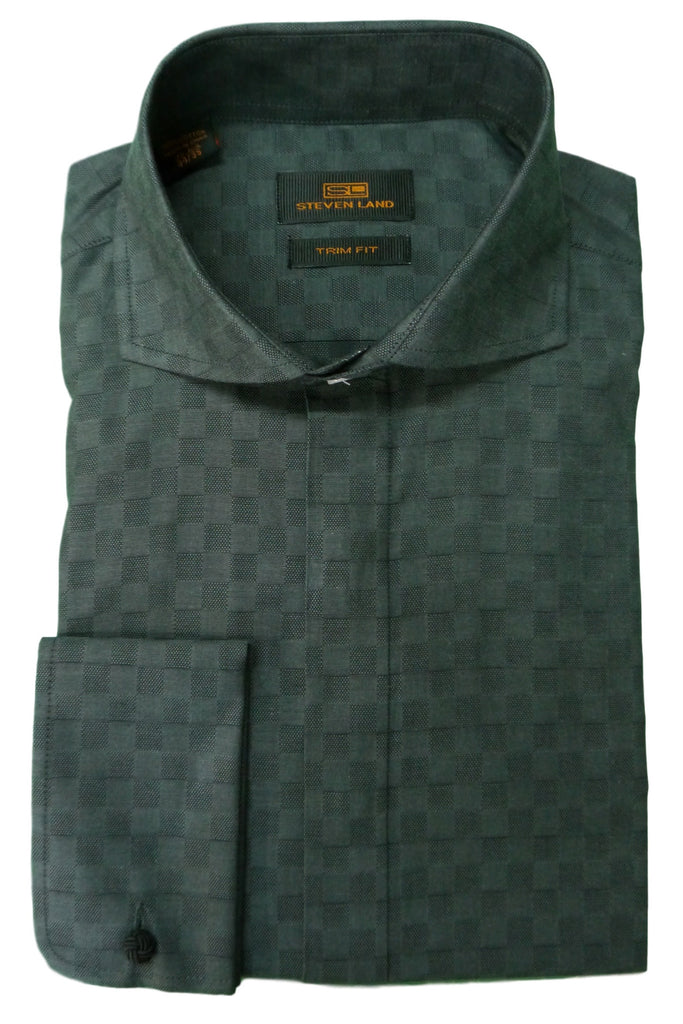 Black and Charcoal Checked Cutaway Collar Dress Shirt