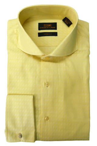 Yellow and Cream Patterned Cutaway Collar Shirt
