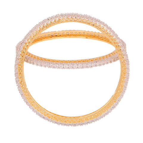 Touchstone Pair of Precious look two tone  CZ Bangles- BBB-G213C01A--M