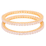 Touchstone Pair of Precious look two tone  CZ Bangles- BBB-G256C01A--M