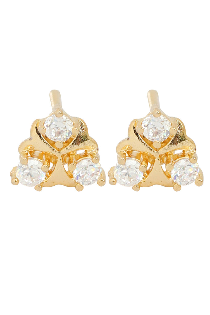 Touschtone Brass base, gold plated, very sober and easy to carry, cubic zircon studded earrings- BBETGF91-01A--Y