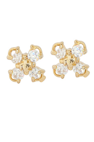 Touchstone Brass base gold plated earrings- BBETGF92-01A--Y