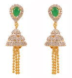 Gold & Rhodium Plated Green CZ Jhumki Earrings By Touchstone- BBETGJ20-02AE-M
