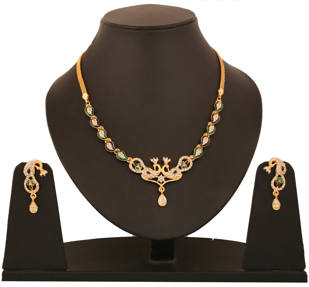 Touchstone Peacock Necklace Set- BBNSG924-02A--Y