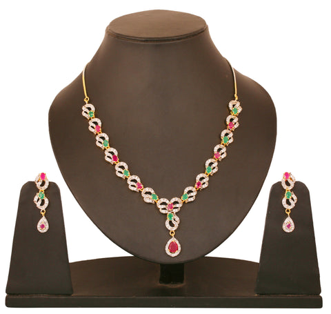 Touchstone two tone plated Indian bollywood CZs faux rubies emeralds jewelry necklace set for women BBNSG946-02AREM