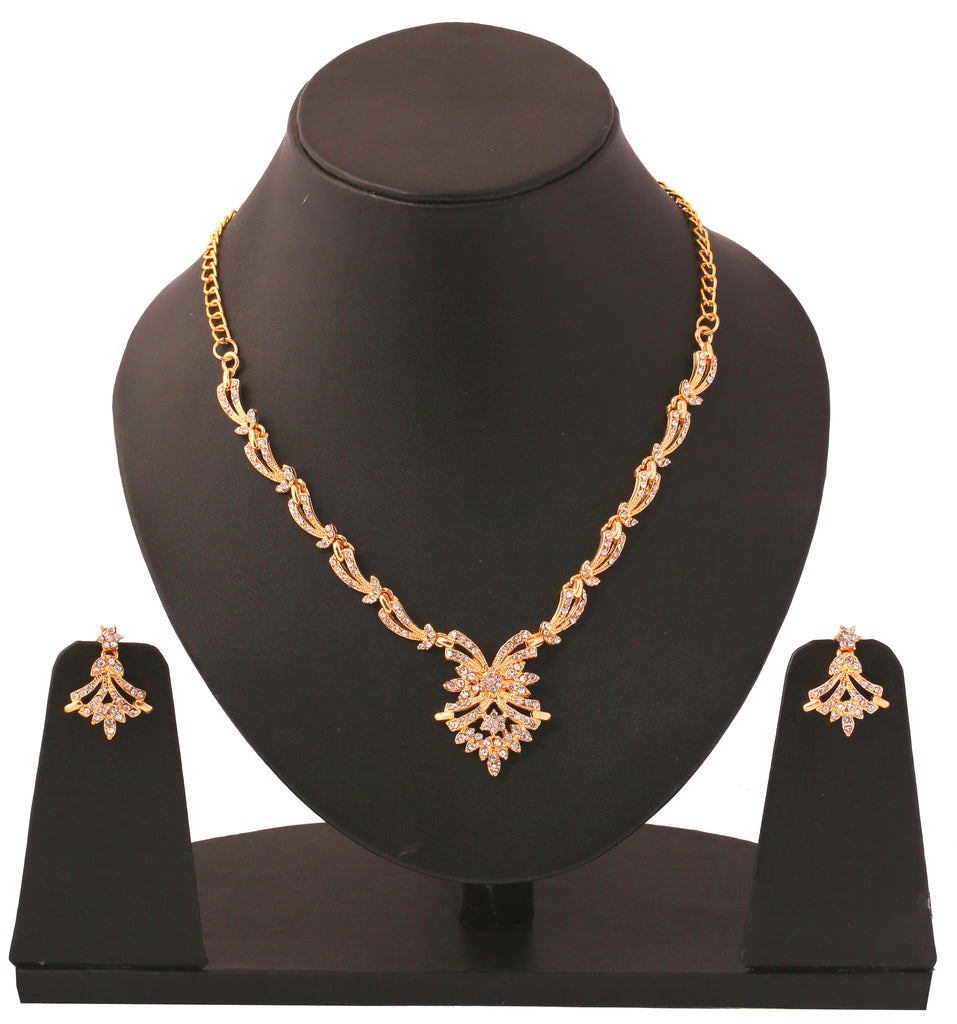 Touchstone Dazzling Gold Plated Necklace Set- BBNSG964-01A--Y