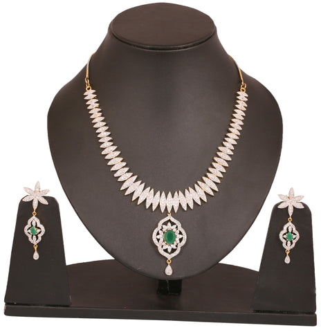 Touchstone two tone plated Indian bollywood CZs and faux emeralds studded jewelry neacklace set for women BBNSG967-02AE-M