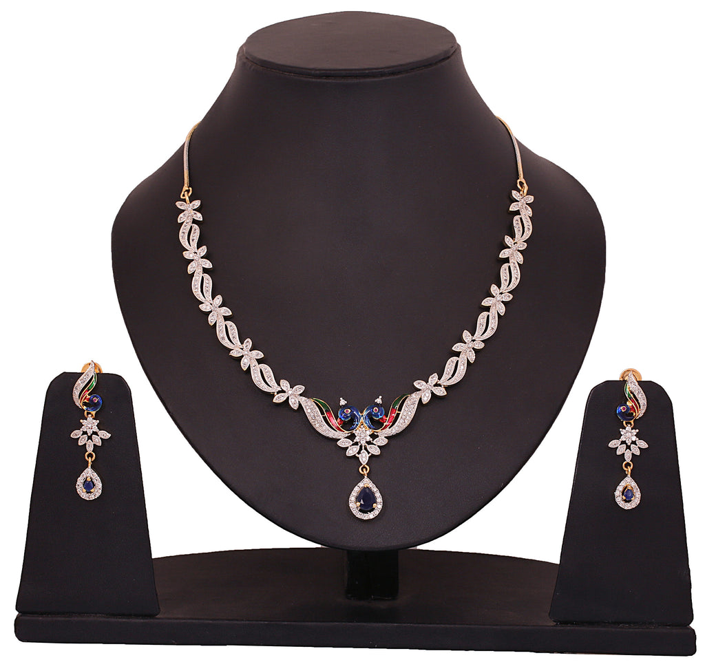Touchstone Multicolour Brass Necklace Set- BBNSG983-02AN-M