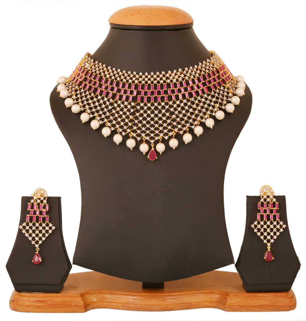 Touchstone Ad Stone Exclusive Women'S Wedding Wear Queen Heavy Necklace Set- BBNSGA13-01AR-M