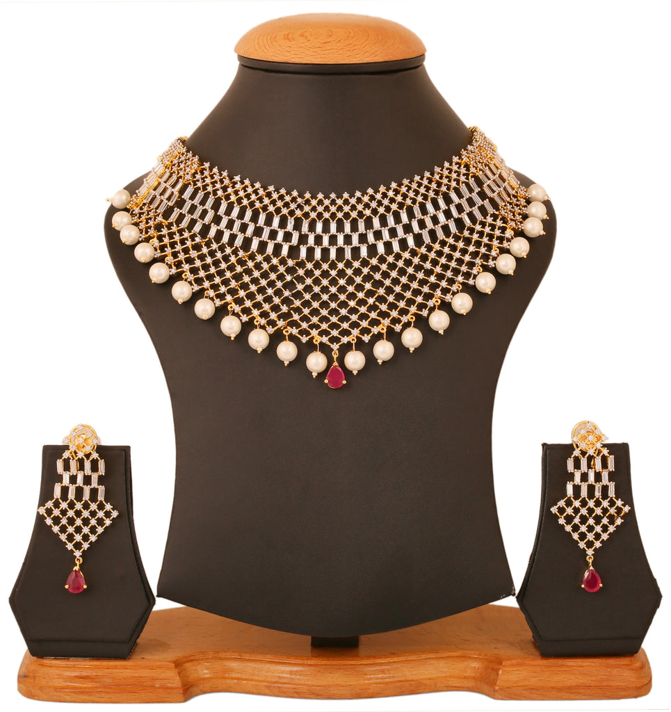 Touchstone Ad Stone Exclusive Women'S Wedding Wear Queen Heavy Necklace Set- BBNSGA13-02AR-M