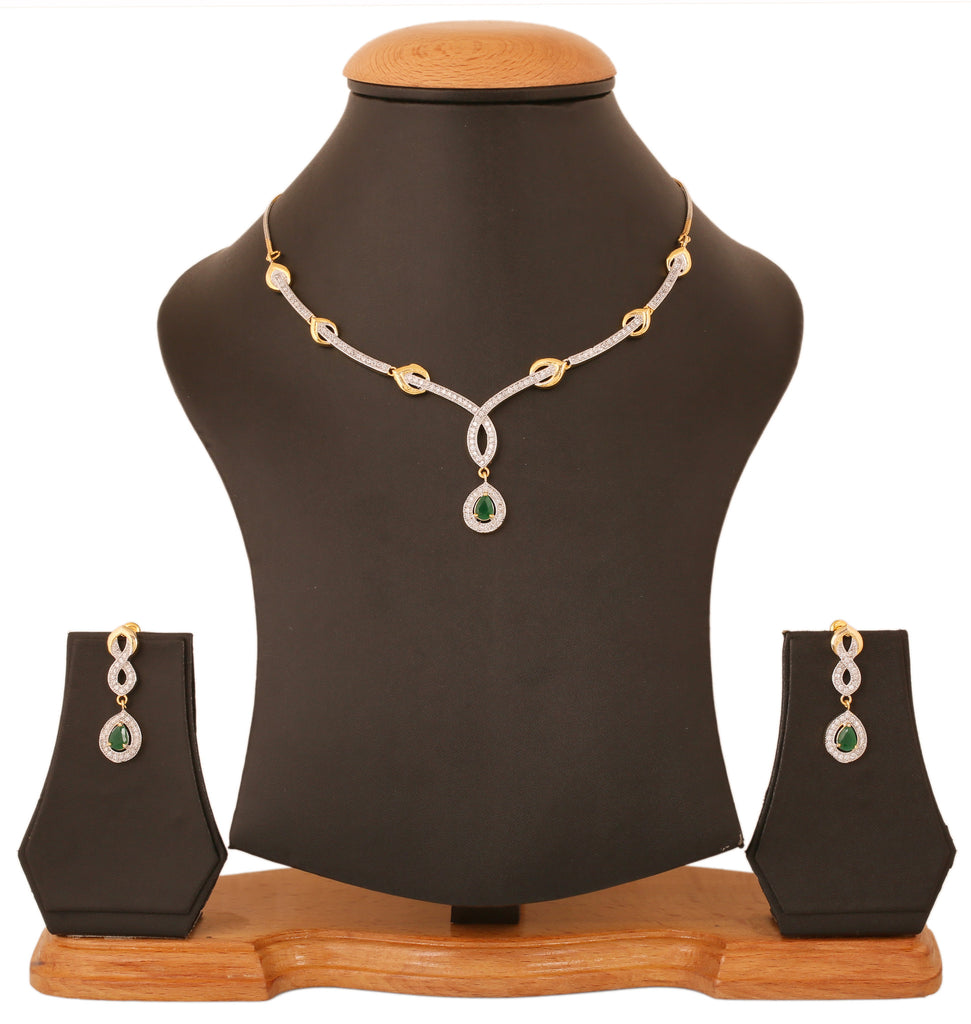 Gold & Rhodium Plated CZ Artistic Necklace Set By Touchstone- BBNSGA14-01AE-M