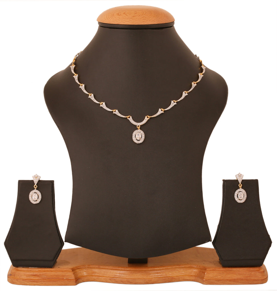 Gold & Rhodium Plated CZ Sober Necklace Set By Touchstone- BBNSGA17-02A--M