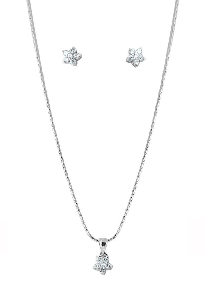 Touchstone Silver Finish Cubic Zircon Pendant Set With Chain- BBPS-606-02A--W