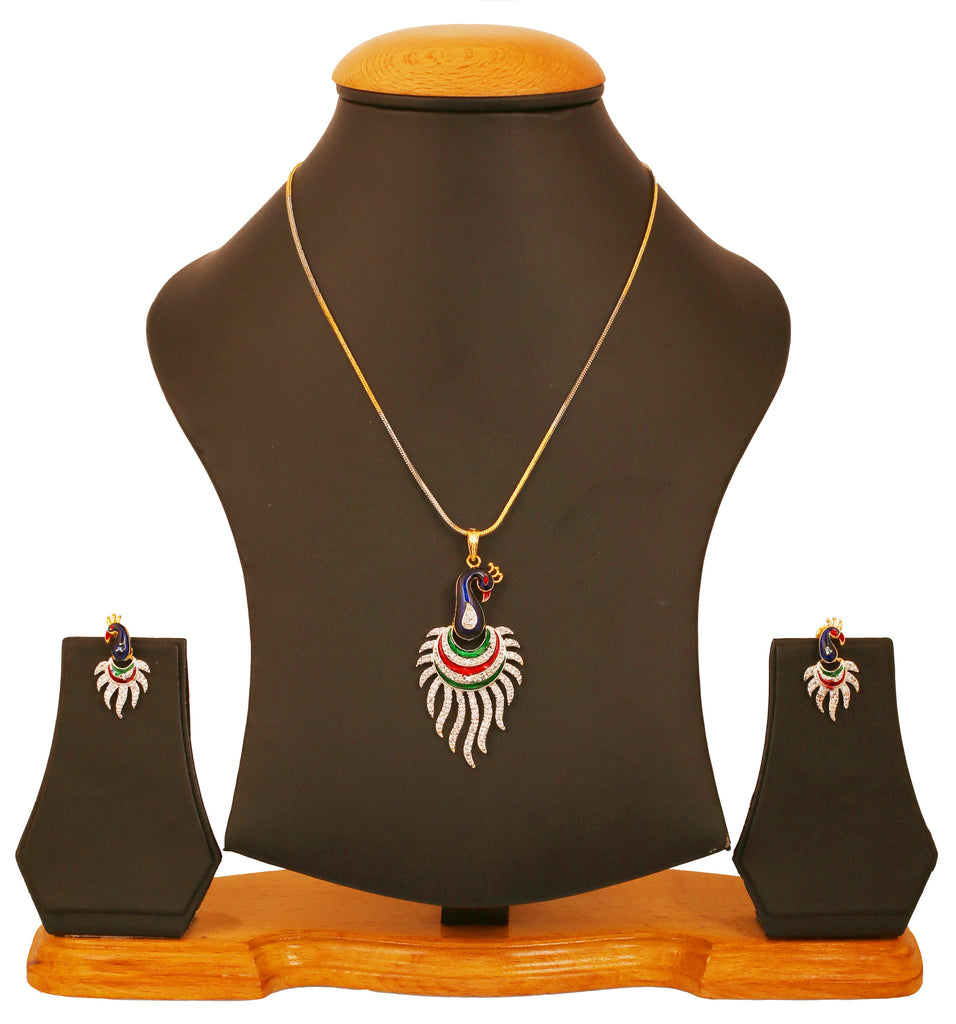 Exclusive And Stylish Indian Peacock AD Pendant Set by Touchstone- BBPSG945-02A--M