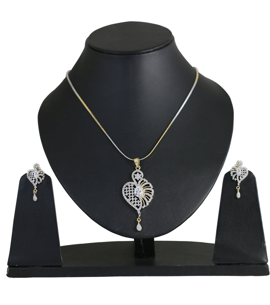 Awesome Attractive Pendant Set Cubic Zironcs Brass base- BBPSG994-01A--M