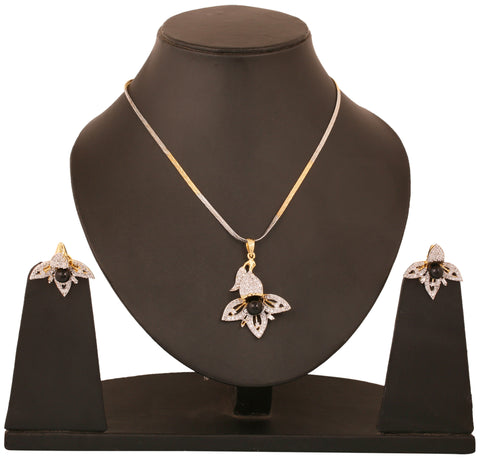 Touchstone two tone plated Indian bollywood petal motif CZs and black faux onyx jewelry pendant for women BBPSGA24-03AB-M