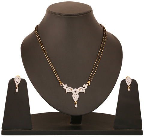 Touchstone tow tone plated Indian bollywood CZs and black beads jewelry mangasutra pendant set for women BBPSGA28-01A--M
