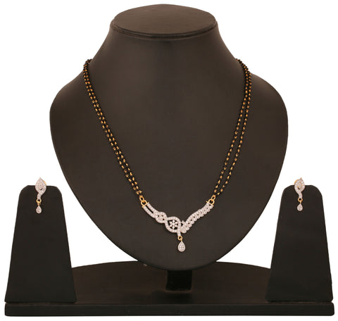 Touchstone tow tone plated Indian bollywood CZs and black beads jewelry mangasutra pendant set for women BBPSGA32-01A--M