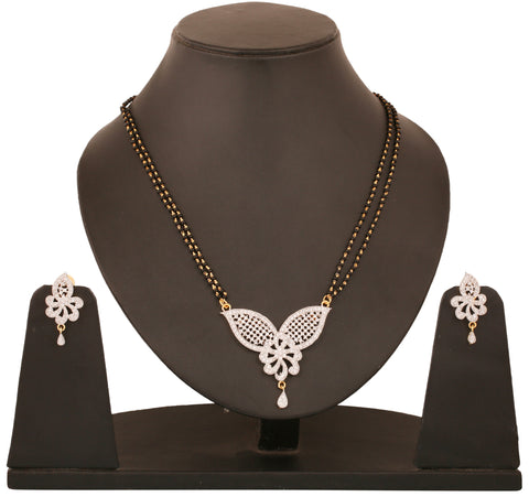 Touchstone tow tone plated Indian bollywood CZs and black beads jewelry mangasutra pendant set for women BBPSGA34-01A--M