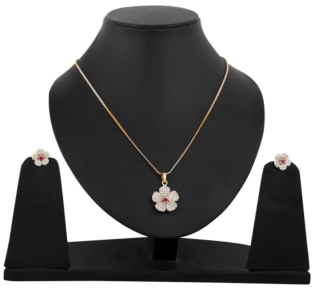 Touchstone Ruby Floral AD  Pendant set- BBPSGC02-01AR-M