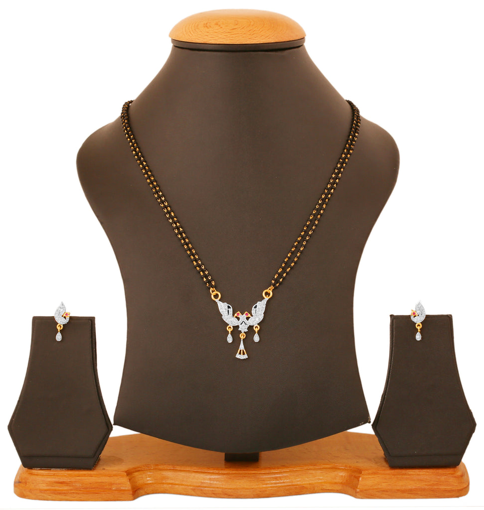 Touchstone Ad Stone, Gold & Rhodium Plated Stylish Peacock Mangalsutra Set- BBPSGC06-01AR-M